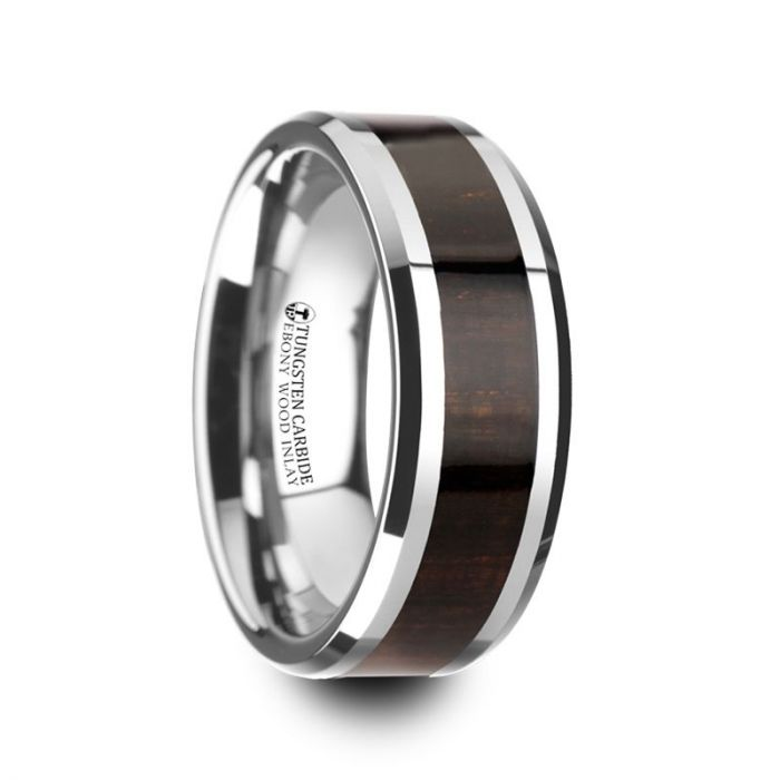 ARCANE-Ebony Wood Inlaid Tungsten Carbide Ring with Bevels – 8mm