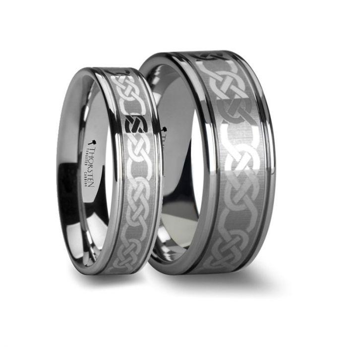 CELTIC Matching Rings Set Celtic Pattern Laser Engraved Tungsten Wedding Band 6 mm & 8 mm