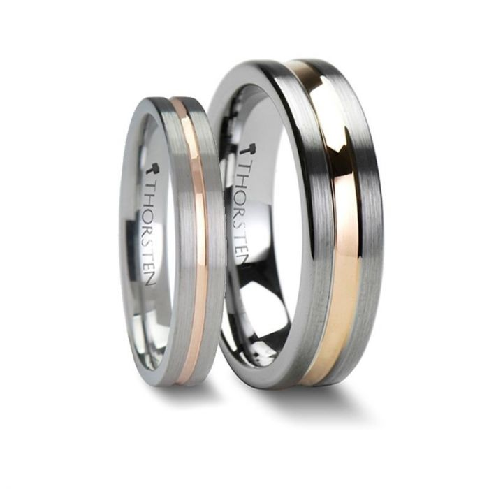 ZENA and ZEUS Matching Rings Set 4 mm & 6mm Flat Brushed Finish Tungsten Ring with Rose Gold Channel