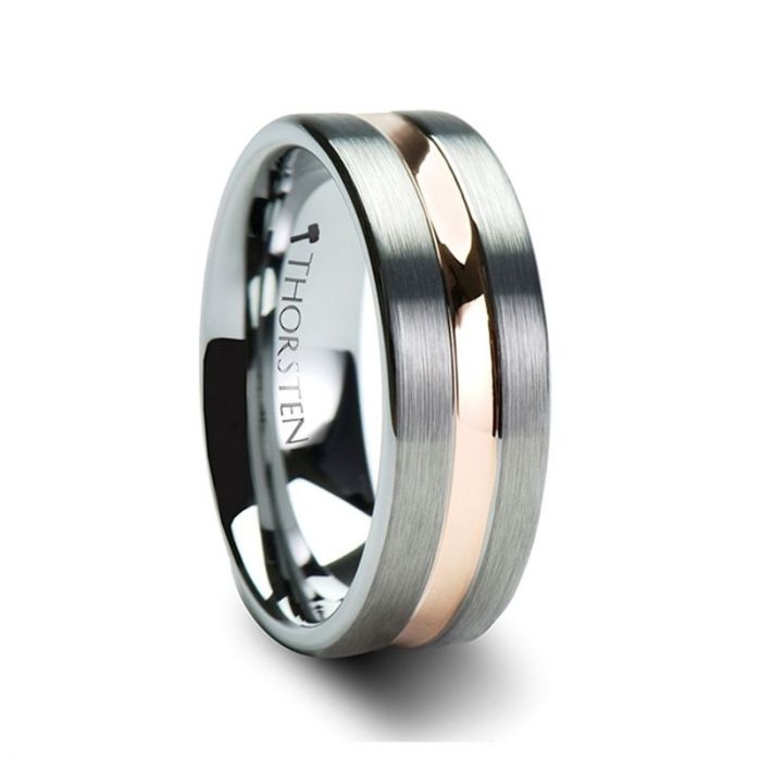 ZEUS Flat Brushed Finish Tungsten Carbide Ring with Rose Gold Plated Groove – 4mm – 10mm
